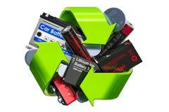 El verde recicla el símbolo con las baterías, representación 3D libre illustration
