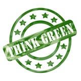 El verde resistido recicla círculos y las estrellas del sello Imagen de archivo