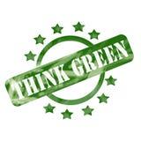 El verde resistido recicla el círculo del sello y el diseño de las estrellas Imágenes de archivo libres de regalías