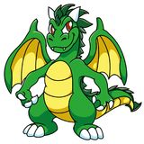 El verde se fue volando el dragón astuto con el estómago amarillo y se va volando, con oscurece los cuernos, historieta, fantasía imágenes de archivo libres de regalías