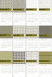El verde y el tundora de moda colorearon el calendario geométrico 2016 de los modelos Stock de ilustración