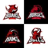 El verraco furioso, caballo, espolón, cabeza del toro aisló el sistema del concepto del logotipo del deporte del vector Imágenes de archivo libres de regalías