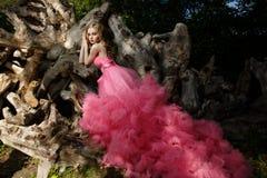El vestido de noche encantador del rosa de la mujer con la falda aérea mullida está presentando en jardín botánico en los troncos Fotos de archivo