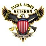 El veterano de las fuerzas armadas de Estados Unidos sirvió orgulloso a Eagle Vector Illustration calvo stock de ilustración