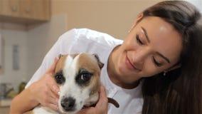 El veterinario de sexo femenino da vuelta a la cabeza del ` s del perro metrajes