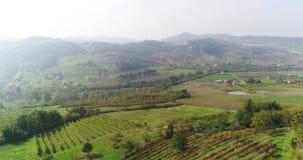 El viñedo en las colinas, la naturaleza pintoresca de Italia, las casas se coloca en el campo, la vista superior de una pequeña c almacen de metraje de vídeo
