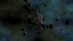El viajar asteroide en espacio con el canal lento de la mosca de la cámara almacen de video