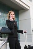 El viajar de la mujer de negocios Imágenes de archivo libres de regalías