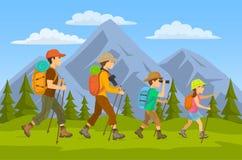 el viajar de los caminantes de la familia ilustración del vector