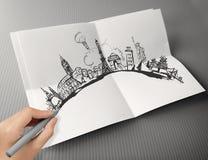 el viajar dibujado mano en todo el mundo Imágenes de archivo libres de regalías