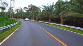 El viajar en el camino en coche o moto el montar en una isla tropical más allá de las palmeras conducción en los caminos almacen de metraje de vídeo