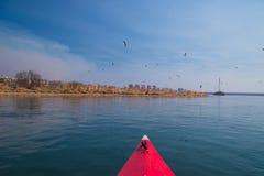 El viajar en kajak en el río Imagen de archivo