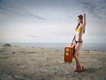 El viajar en la playa Foto de archivo libre de regalías