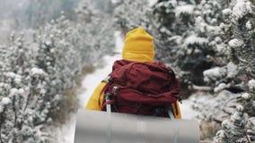 El viajar en las montañas Hombre joven que lleva la ropa amarilla del invierno que camina en el bosque cubierto con nieve viaje metrajes