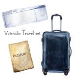 El viaje de la acuarela fijó incluir el pasaporte, documento de embarque, maleta del navi Ejemplo pintado a mano aislado en blanc Imagenes de archivo