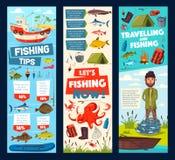 El viaje de pesca y la captura de pescados del pescador inclina banderas libre illustration