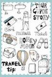 El viaje dibujado mano fijó 03 Fotografía de archivo libre de regalías
