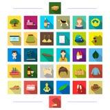 El viaje, el entretenimiento, las decoraciones y el otro icono del web en estilo plano , negocio, animales, producción, iconos en Imágenes de archivo libres de regalías