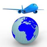 El viaje mundial muestra el avión Jet And Planet Foto de archivo
