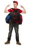El viajero joven con la mochila aislada encendido Imagenes de archivo