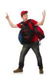 El viajero joven con la mochila aislada encendido Foto de archivo