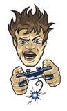 El videojugador enojado con una palanca de mando Imágenes de archivo libres de regalías