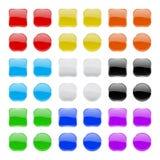 El vidrio abotona la colección Iconos coloreados geométricos brillantes 3d Imagen de archivo libre de regalías