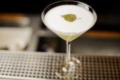 El vidrio de cóctel elegante llenó de la bebida alcohólica fresca adornada con la hoja del abedul Foto de archivo