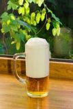 El vidrio de cerveza en el fondo ramifica con los saltos Foto de archivo