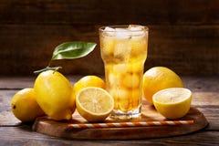 El vidrio del limón heló té con las frutas frescas Imagenes de archivo