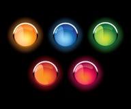 El vidrio del vector brilló los botones Imagen de archivo libre de regalías