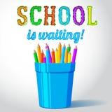 El vidrio del vector con los lápices y la escuela está esperando Imágenes de archivo libres de regalías