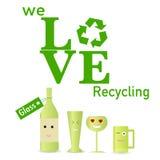 El vidrio recicla el cartel Imágenes de archivo libres de regalías