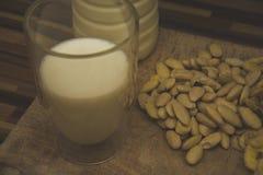 El vidrio semilleno de leche fresca con las almendras sabrosas en el viejo Fotografía de archivo libre de regalías