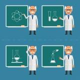 El viejo científico indica en la pizarra ilustración del vector