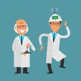 El viejo científico maneja a su ayudante que usa la palanca de mando libre illustration