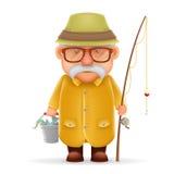 El viejo diseño de personaje de dibujos animados realista de Grandfather 3d del pescador aisló el ejemplo del vector ilustración del vector