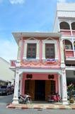 El viejo estilo del portugués del tipo de tela de algodón de Phuket de la ciudad Imagenes de archivo