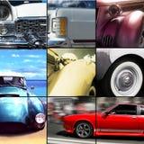 El viejo exterior del coche detalla el collage imagenes de archivo