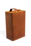 El viejo gas oxidado del galón de la lata puede con el casquillo en fondo blanco aislado Imagenes de archivo