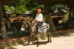 El viejo hombre en un burro Foto de archivo libre de regalías