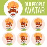 El viejo hombre indio Avatar fijó vector hindú Asiático Haga frente a las emociones Person Portrait mayor Personas mayores enveje libre illustration