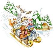 El viejo hombre viene abajo de la colina en un trineo libre illustration