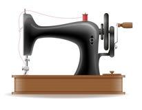 El viejo icono retro del vintage de la máquina de coser almacena el ejemplo del vector Fotografía de archivo