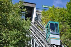 Funicular de la ciudad de Quebec vieja imagen de archivo libre de regalías