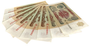 El viejo soviet denominó una rublo rusa aislada Imagen de archivo libre de regalías