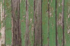 El viejo verde pintó la pared de madera - textura o fondo Fotografía de archivo