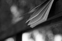 El viento da vuelta a las páginas monocromáticas de las mentiras abiertas del cuaderno en la barandilla de madera en parque, conc fotos de archivo libres de regalías