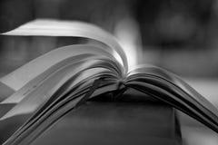 El viento da vuelta a las páginas monocromáticas de las mentiras abiertas del cuaderno en la barandilla de madera en parque, conc foto de archivo libre de regalías