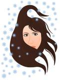 El viento frío del invierno sopla en la cara de la mujer libre illustration